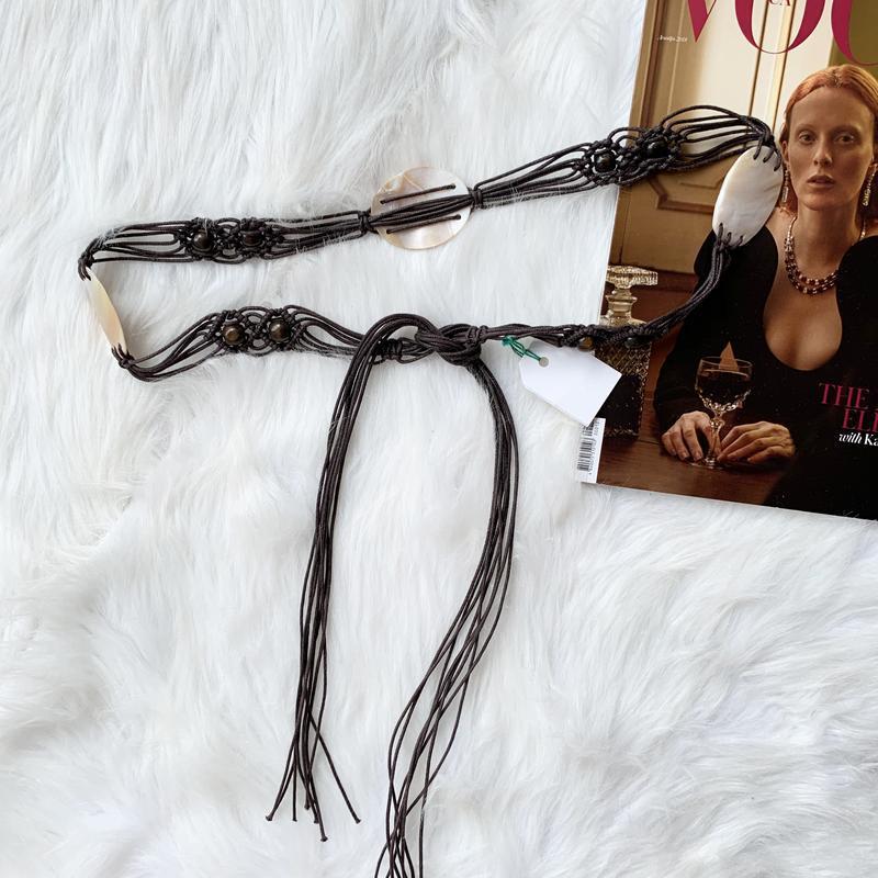Плетеный пояс с натуральным перламутром, ремень, перламутр, тренд - Фото 3