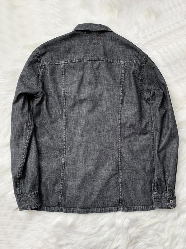 Джинсовая рубашка, черная, джинс, джинсова сорочка, деним, сер... - Фото 2