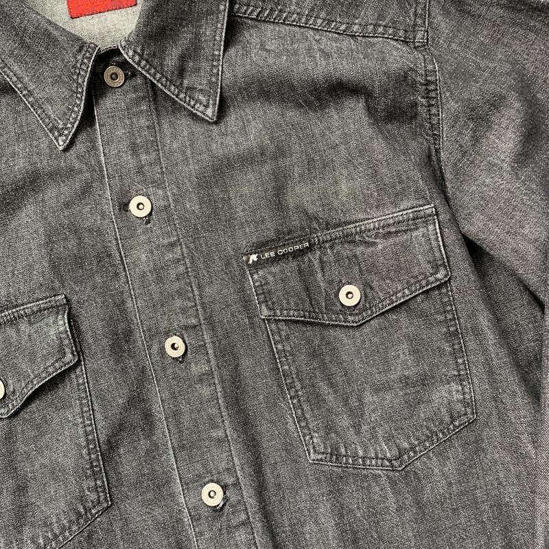 Джинсовая рубашка, черная, джинс, джинсова сорочка, деним, сер... - Фото 3