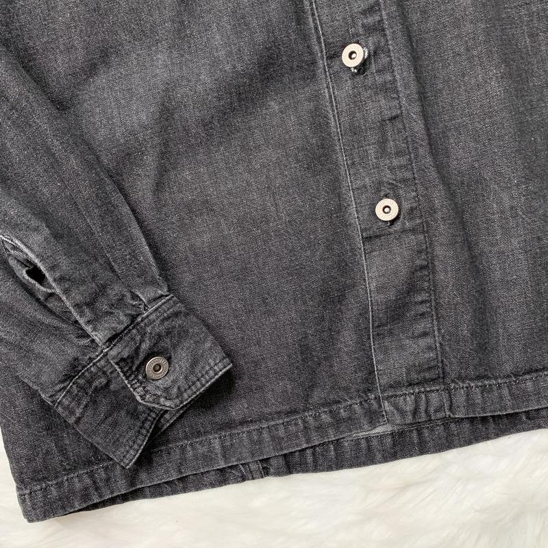 Джинсовая рубашка, черная, джинс, джинсова сорочка, деним, сер... - Фото 4