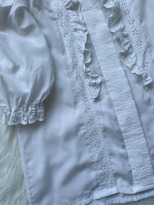 Стильная блуза, рубашка, сорочка, с рюшами, з рюшами, объемный... - Фото 5