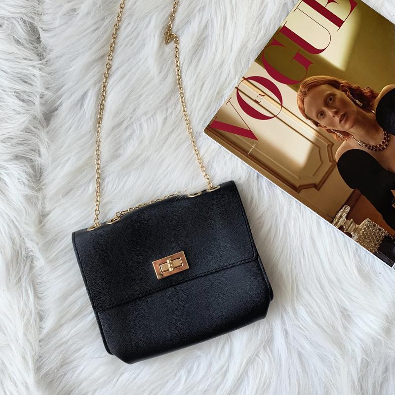Сумка, сумочка, черная, чорна, на цепочке, на ланцюжку