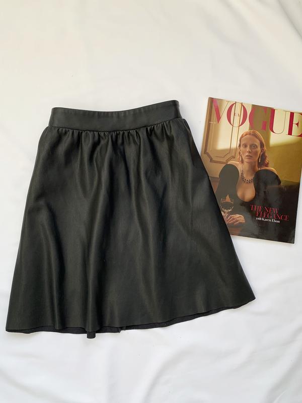 Юбка, кожаная юбка, шкіряна юбка, черная, чорна, кож. зам., шк...