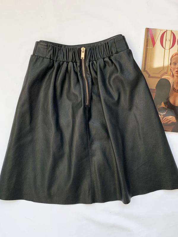 Юбка, кожаная юбка, шкіряна юбка, черная, чорна, кож. зам., шк... - Фото 3