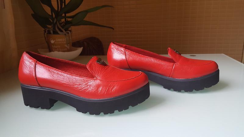 Модные женские кожаные туфли ksl цвет -красный - Фото 2