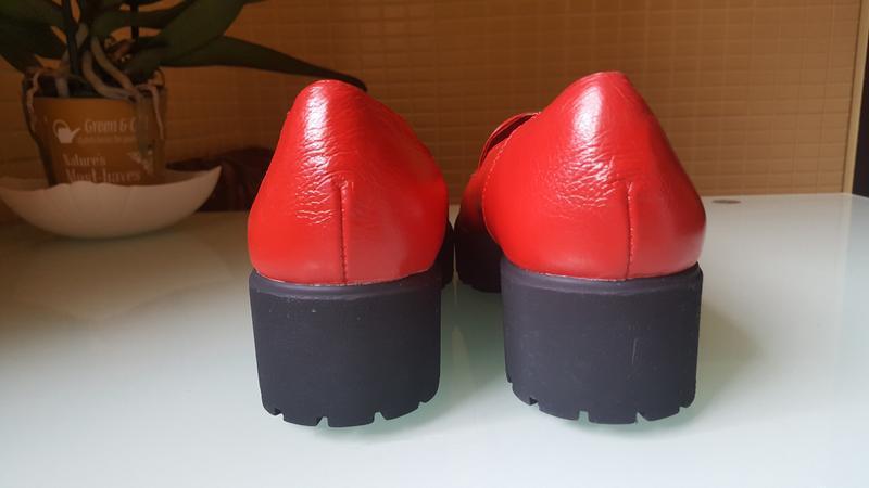 Модные женские кожаные туфли ksl цвет -красный - Фото 3