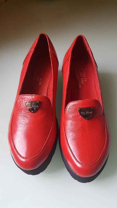 Модные женские кожаные туфли ksl цвет -красный - Фото 7