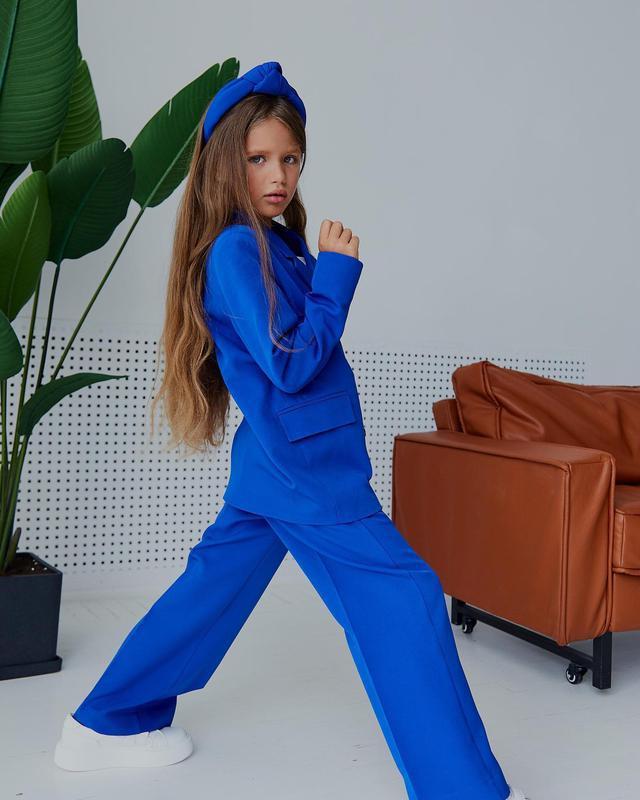 Костюм двойка на девочку, детский, пиджак, брюки, синий электр...