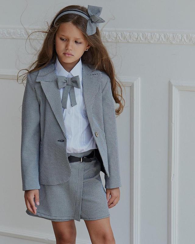 Костюм детский двойка, пиджак, юбка - шорты, школьный, для дев...