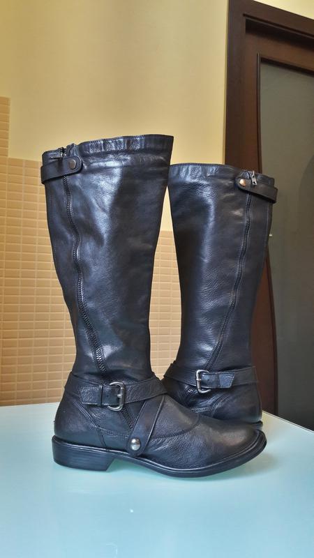 Раскошенные высокие кожаные сапоги san marina - Фото 2