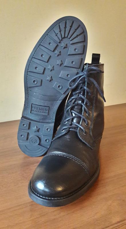 Брендовые кожаные ботинки jack&jones - Фото 3