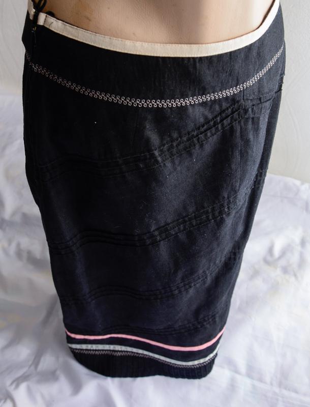 Черная льняная юбка