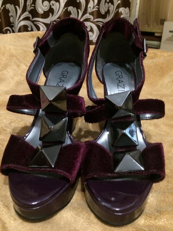 Grazia бархатные босоножки туфли сандали - Фото 3