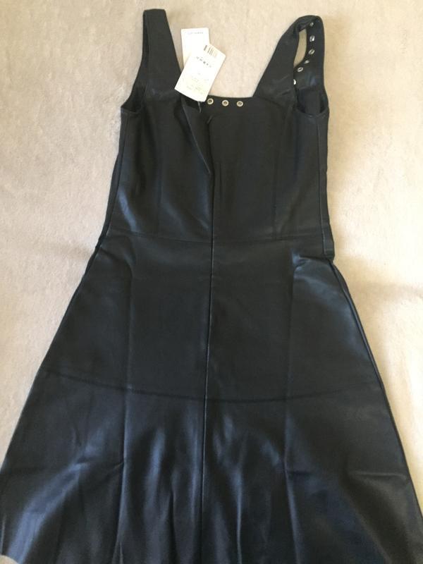 Кожаное платье mango короткое платье под кожу - Фото 4