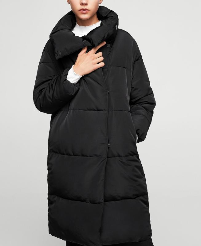 Черное пальто mango зефирка пальто одеяло пуховик искусственный - Фото 3