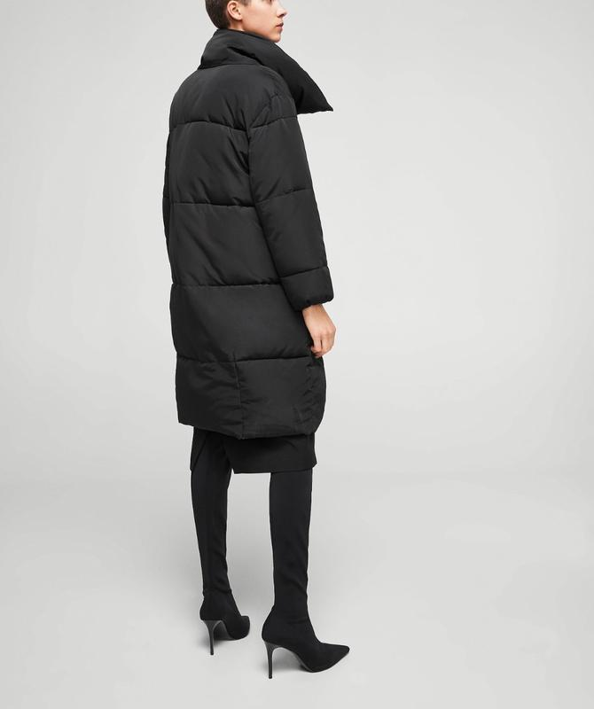Черное пальто mango зефирка пальто одеяло пуховик искусственный - Фото 5