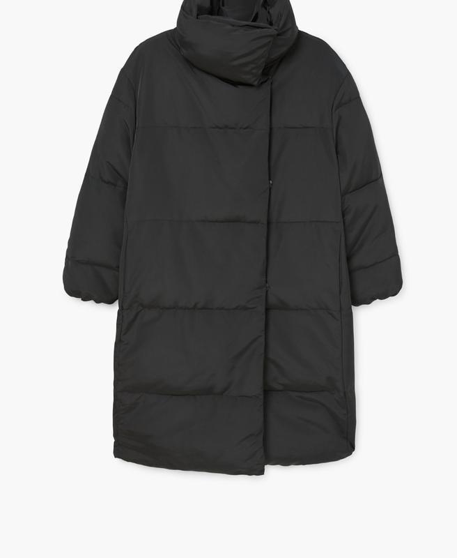 Черное пальто mango зефирка пальто одеяло пуховик искусственный - Фото 6
