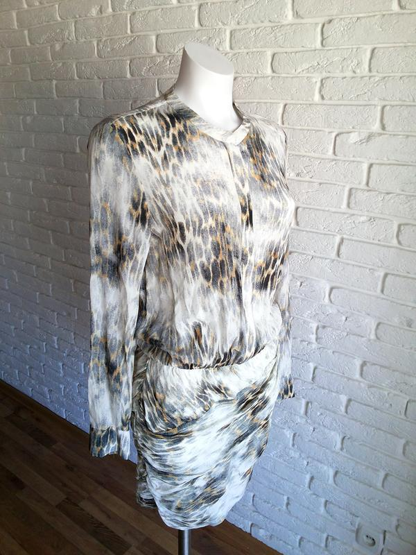 Maje riviere leopard print шелковое платье с леопардовым принтом - Фото 5