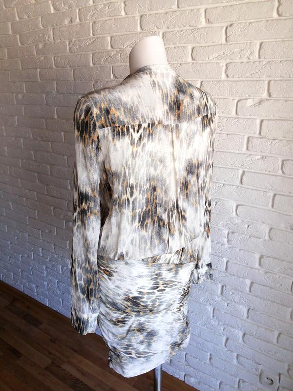 Maje riviere leopard print шелковое платье с леопардовым принтом - Фото 7