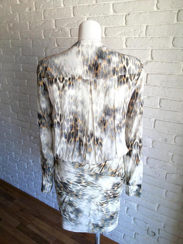 Maje riviere leopard print шелковое платье с леопардовым принтом - Фото 8