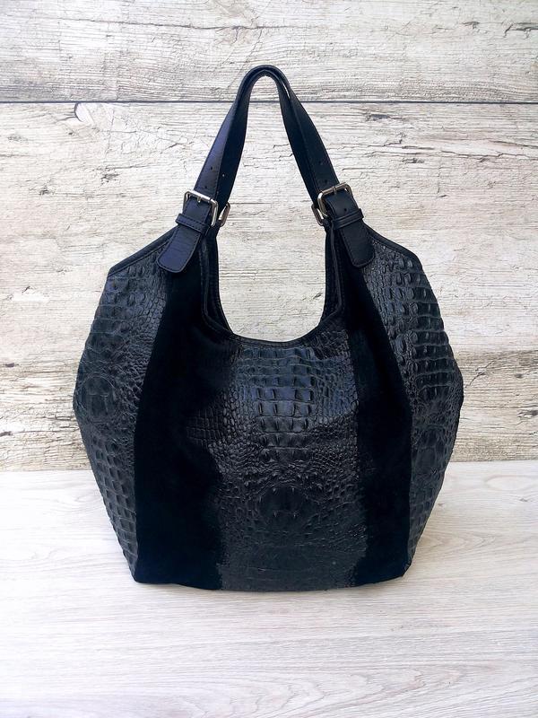 Итальянская очень большая и вместительная кожаная сумка кожа к... - Фото 2