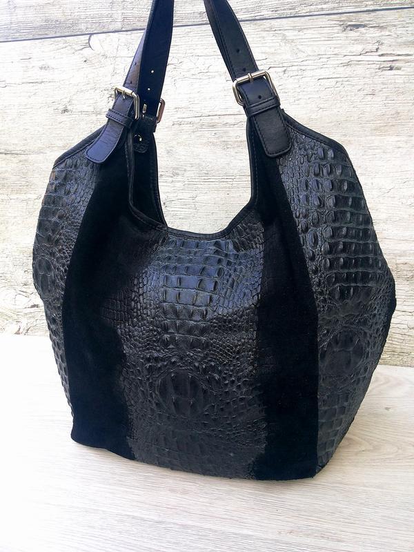 Итальянская очень большая и вместительная кожаная сумка кожа к... - Фото 3
