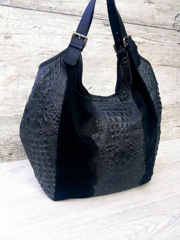 Итальянская очень большая и вместительная кожаная сумка кожа к... - Фото 4