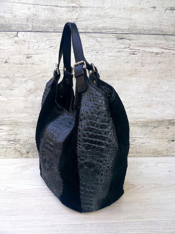 Итальянская очень большая и вместительная кожаная сумка кожа к... - Фото 5