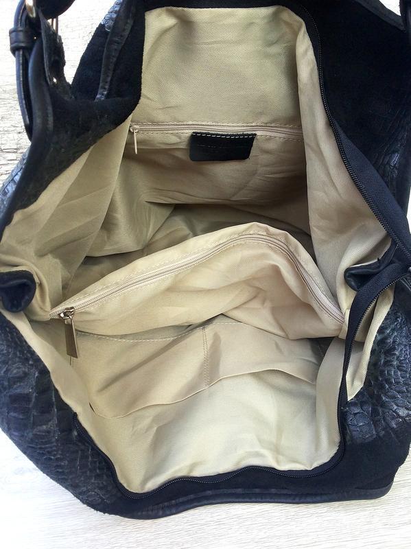 Итальянская очень большая и вместительная кожаная сумка кожа к... - Фото 8