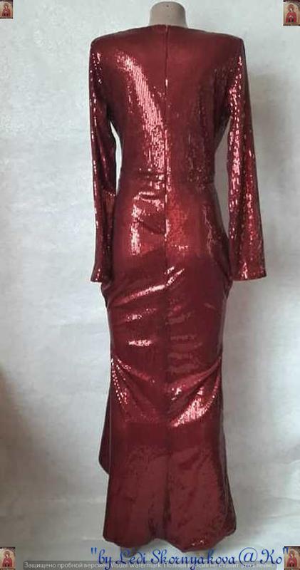 Шикарное нарядное платье в пол на запах в мелкие паетки в крас... - Фото 2