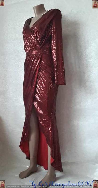 Шикарное нарядное платье в пол на запах в мелкие паетки в крас... - Фото 3