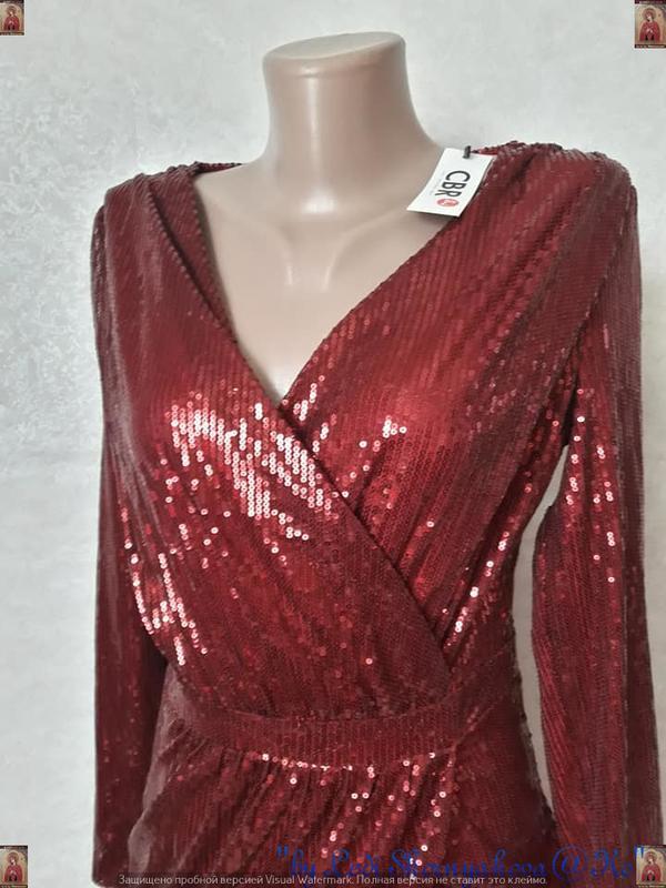 Шикарное нарядное платье в пол на запах в мелкие паетки в крас... - Фото 5
