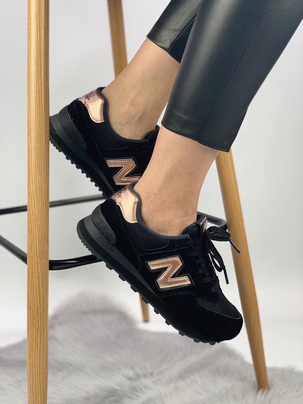 Кроссовки женские new balance 574 black gold - Фото 2