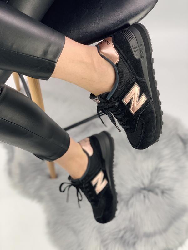Кроссовки женские new balance 574 black gold - Фото 4