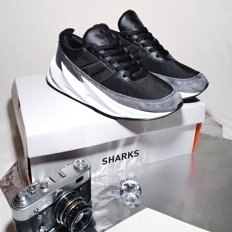 Кроссовки мужские adidas sharks gray black - Фото 2
