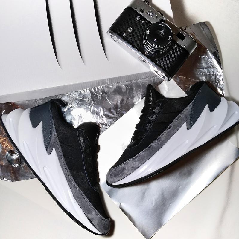 Кроссовки мужские adidas sharks gray black - Фото 3