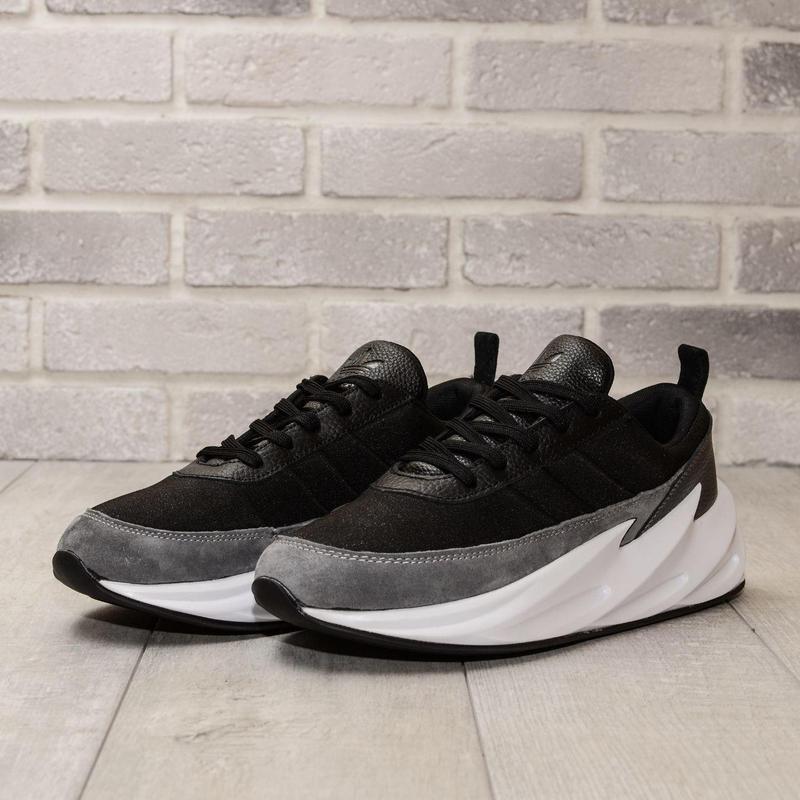 Кроссовки мужские adidas sharks gray black - Фото 4