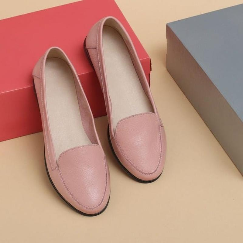 Туфли мягкие лоферы из натуральной кожи пудра