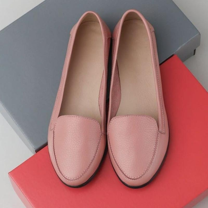 Туфли мягкие лоферы из натуральной кожи пудра - Фото 2