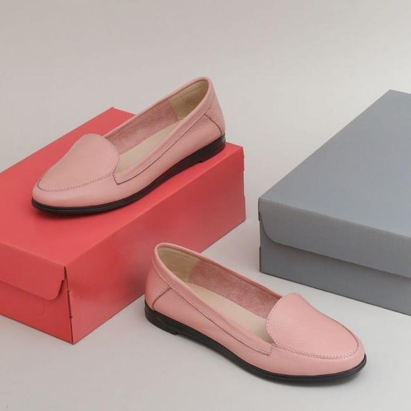 Туфли мягкие лоферы из натуральной кожи пудра - Фото 3