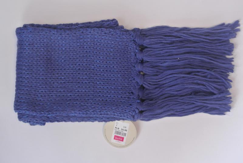 17-163 вязаный шарф с блестящей нитью и бахромой - Фото 3