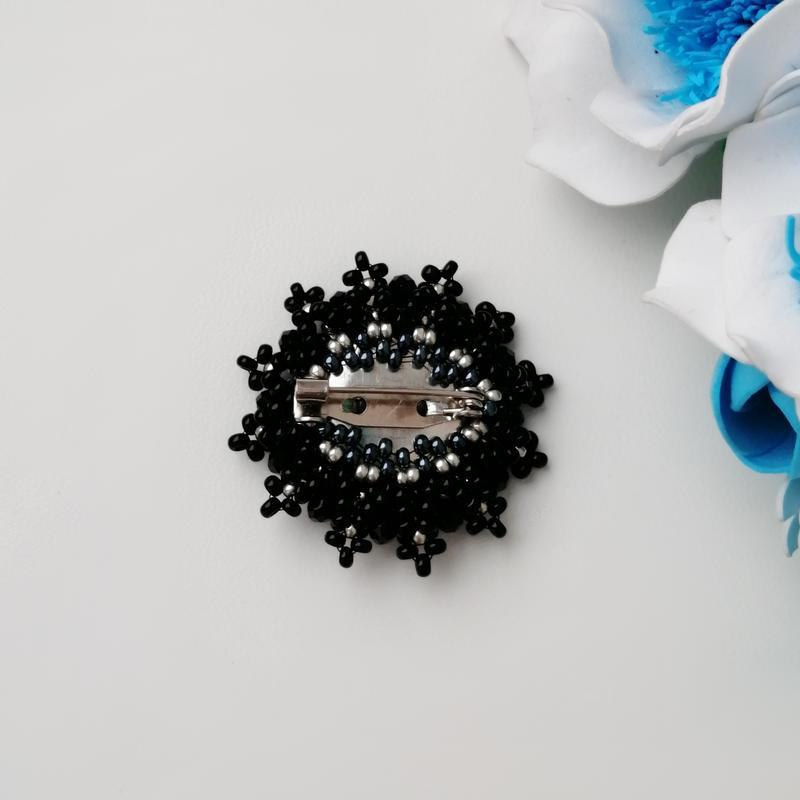 Элегантная черная брошь «elegance». ручная работа - Фото 2