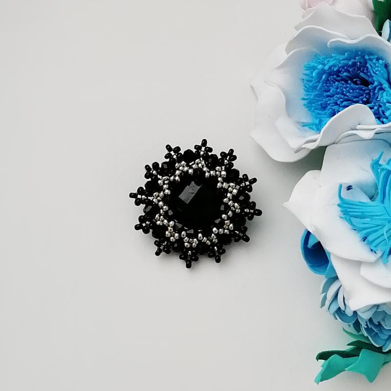 Элегантная черная брошь «elegance». ручная работа - Фото 3
