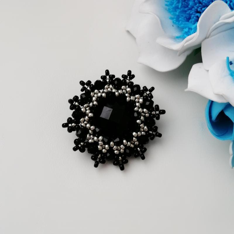 Элегантная черная брошь «elegance». ручная работа - Фото 5