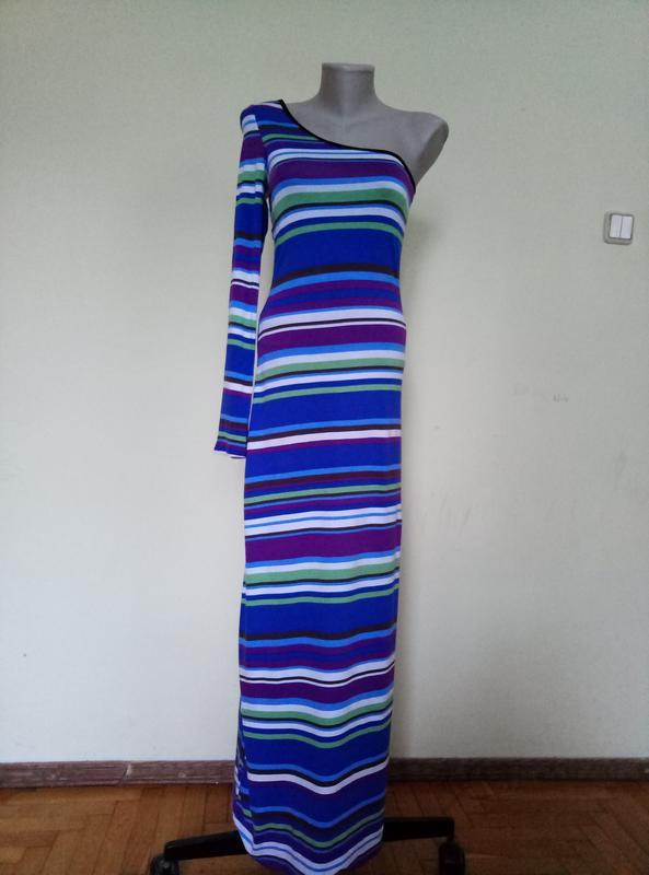 Красивое длинное платье с одним рукавом трикотажное - Фото 2