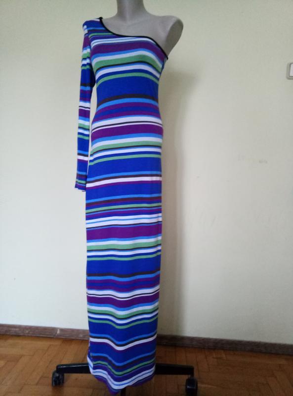 Красивое длинное платье с одним рукавом трикотажное - Фото 3