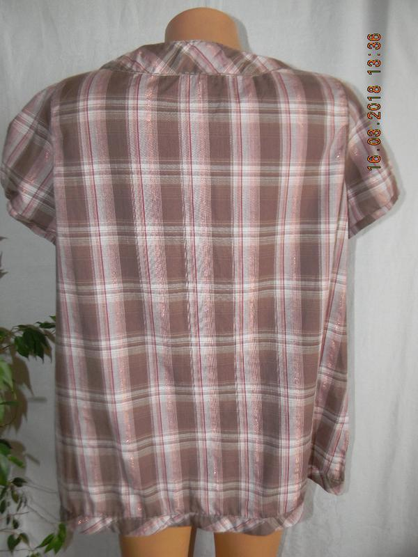 Новая натуральная блуза в клетку - Фото 3