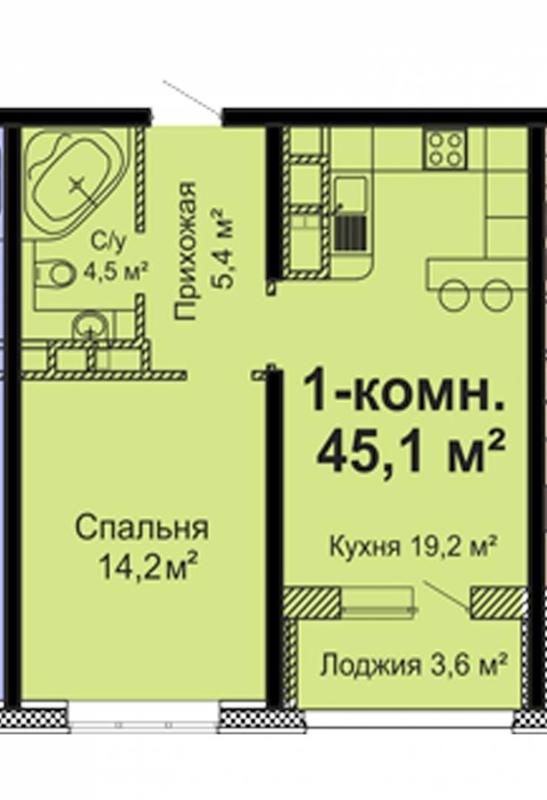 Однокомнатная квартира в новом жилом, современном комплексе