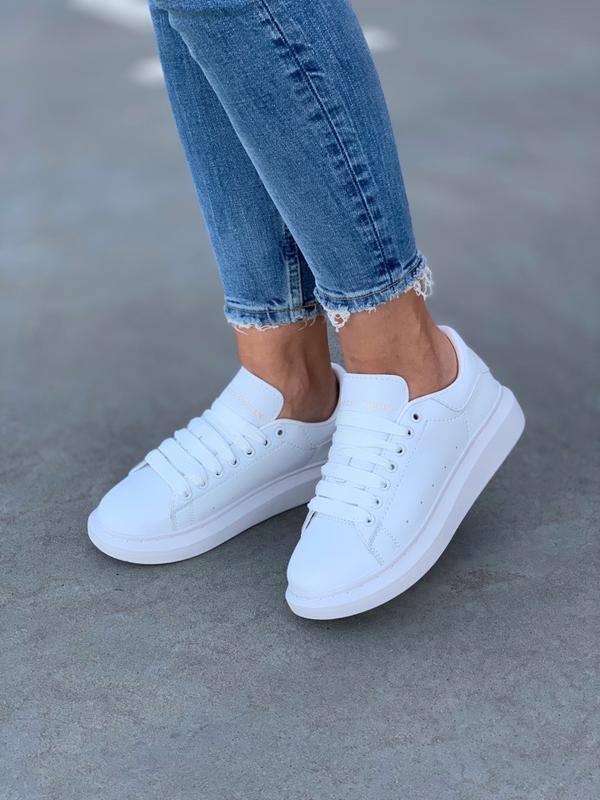 Кроссовки женские mcqueen  all white - Фото 5