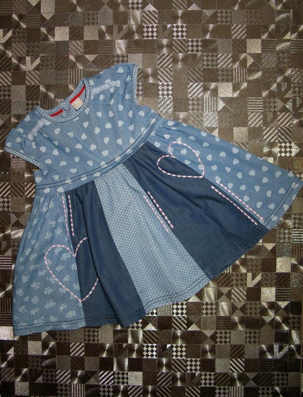Красивое пышное хлопковое джинсовое платье tu 9-12мес